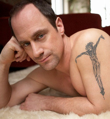 Christopher Meloni on a bearskin rug