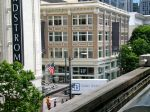 Riding the monorail; that's Nordstrom's first store